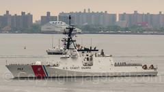 2017 Fleet Week - USCGC Hamilton (WMSL 753) US Coast Guard Cutter approaching the Verrazano-Narrows Bridge, New York City