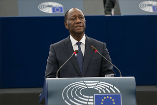 President of the Republic of Cote d'Ivoire, Alassane Outtara in the plenary chamber