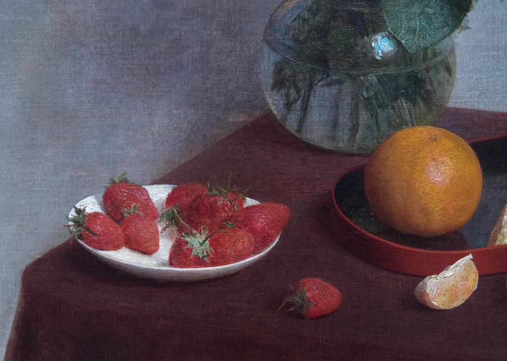 """Henri Fantin-Latour (1836-1905) """"Fleurs d'été et fruits"""" dét. (1866, huile sur toile) - Exposition """"Fantin-Latour. A fleur de peau"""" (18.III.2017-18.VI.2017) au musée de Grenoble (Isère, France)"""