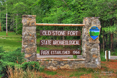 Old Stone Fort State Archaeological Park sign - Manchester, Tennessee