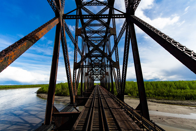 Nenana Bridge, Alaska, Canon EOS REBEL T5I, Sigma 8-16mm f/4.5-5.6 DC HSM