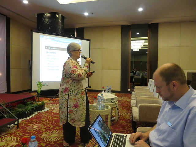 Ruxandra talking at the Batam presentation