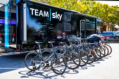 Team Sky vehicle and team bikes before the start of Stage 2 in Modesto