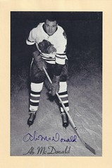 "1944-63 NHL Beehive Hockey Photo / Group II - ALVIN ""AB"" McDONALD (Left Wing) - Autographed Hockey Card (Chicago Black Hawks) (#121)"