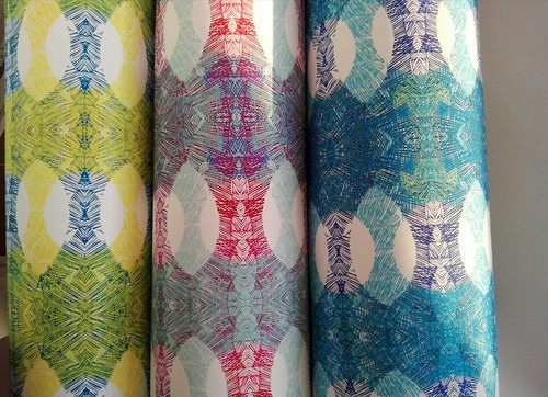 Digital printed decor rolls of my original lino print work