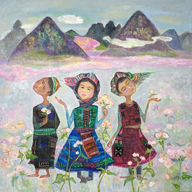 """Triển lãm tranh của các nữ họa sĩ ba miền - Chủ đề: """" Sắc hoa Bắc Trung Nam """" 1"""
