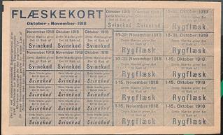 rationeringsmærke, flæsekort 1918