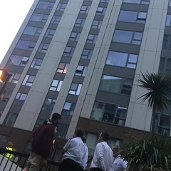 People being moved out of Taplow block in Camden.
