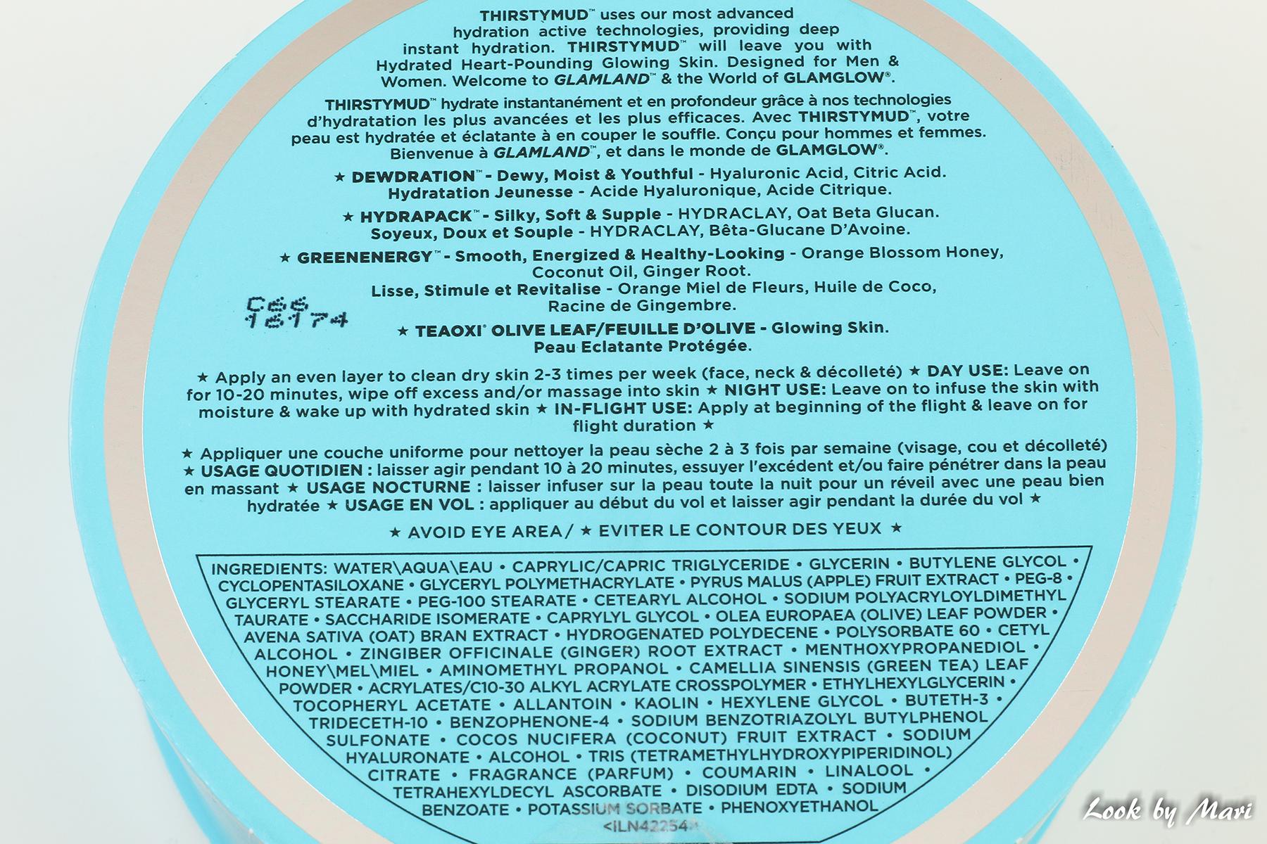 7 glamglow thirstymud mask inci ingredients raaka-aineet sisältö