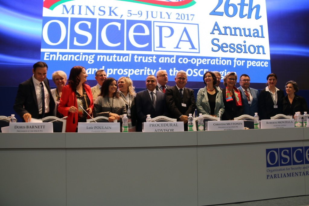 Group photo of the OSCE PA's Bureau at the Plenary Session of OSCE PA Annual Session in Minsk on 9 July 2017