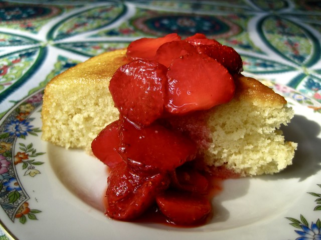 Butter Cake with Macerated Strawberries