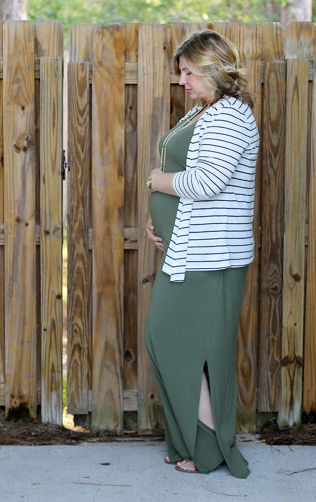 maternity green maxi, blue stripe cardigan 1