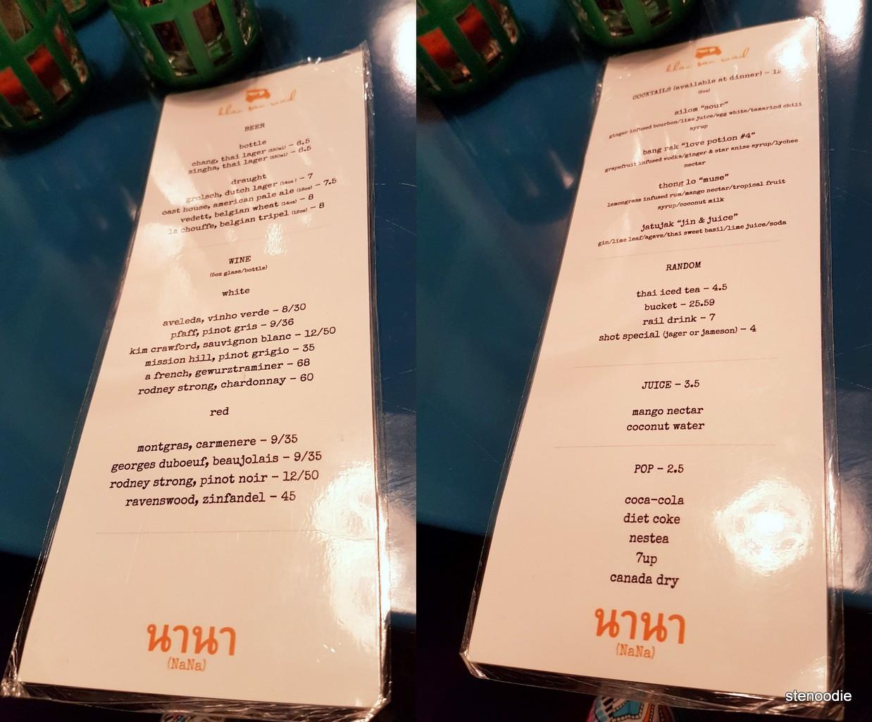 Nana Restaurant drinks menu and prices