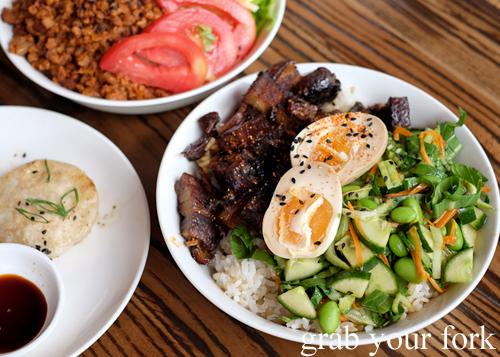Crispy mochi dumpling, vegan taco rice and kakunidon at Manmaru Japanese bakery cafe in Dulwich Hill Sydney