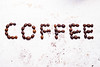 The word coffee from coffee beans
