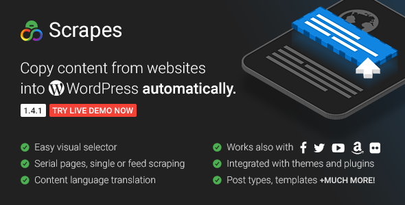 Scrapes v1.4.1 – Automatic web content crawler and auto post plugin for WordPress