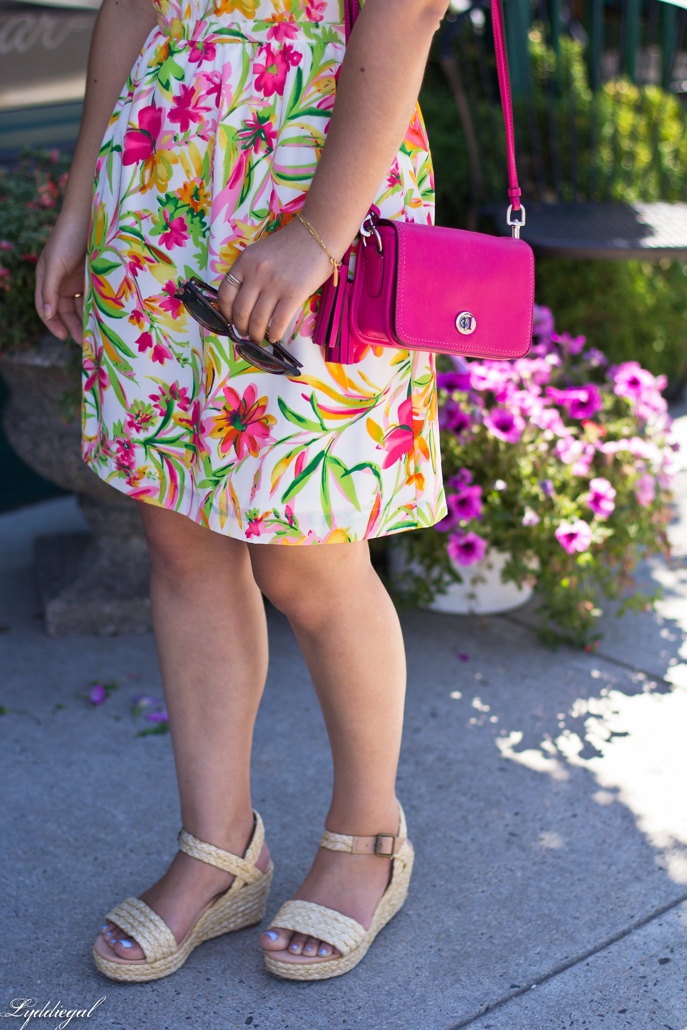 floral cami dress, pink coach bag, platform espadrilles-4.jpg