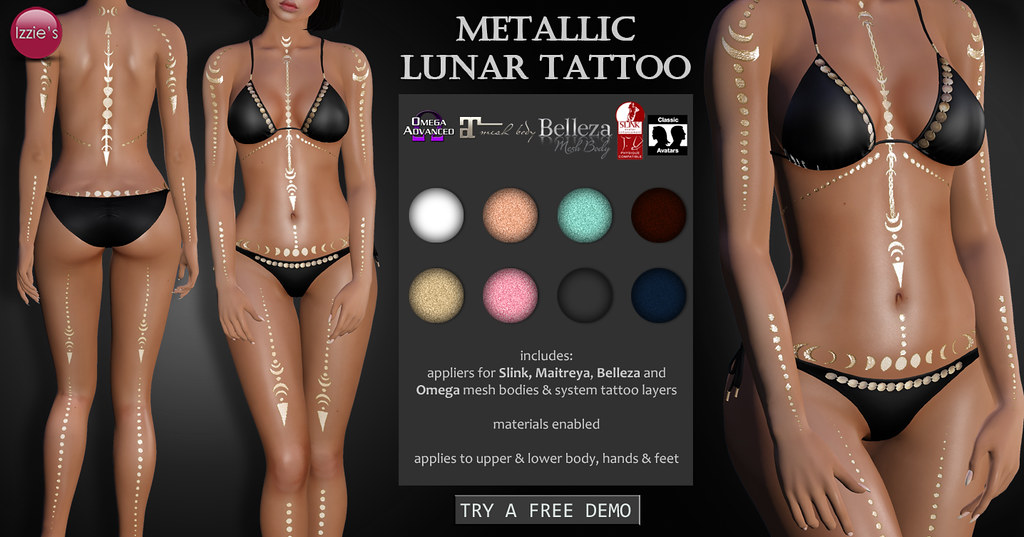 Metallic Lunar Tattoo - SecondLifeHub.com