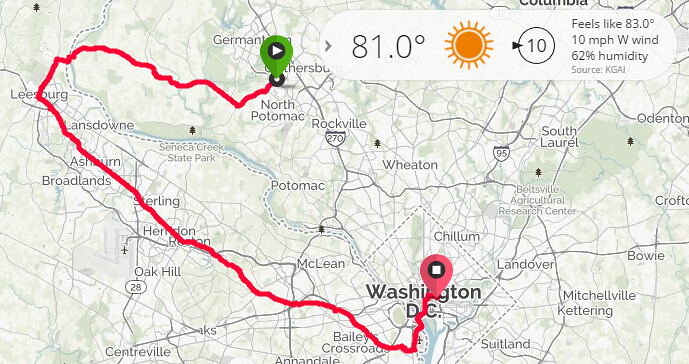 Poolesville - Whites Ferry - WOD - Four Mile Run - Gravelly - DC