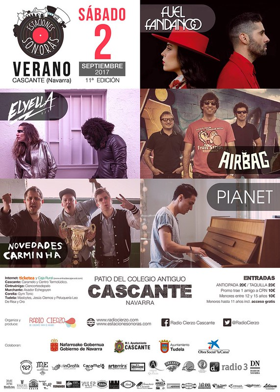 Estaciones Sonoras de Verano 2017 Fuel Fandango Novedades Carminha Elyella Airbag Pianet Radio Cierzo Cascante