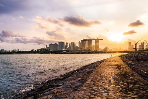 dam sunset skyline cityscape