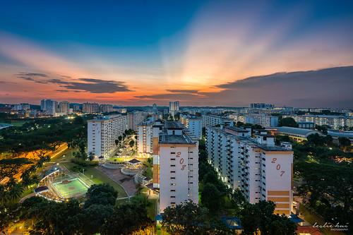 rays amk publichousing sunset sunray singapore cityscape anticrepuscularrays hdb angmokio city