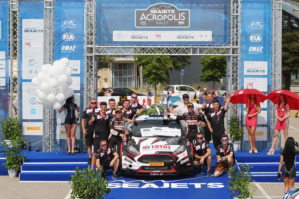 02 KAJETANOWICZ Kajetan (pol) and BARAN Jaroslaw (pol) podium ambiance during the European Rally Championship 2017 - Acropolis Rally Of Grece - From June 2 to 4 - Photo Gregory Lenormand / DPPI
