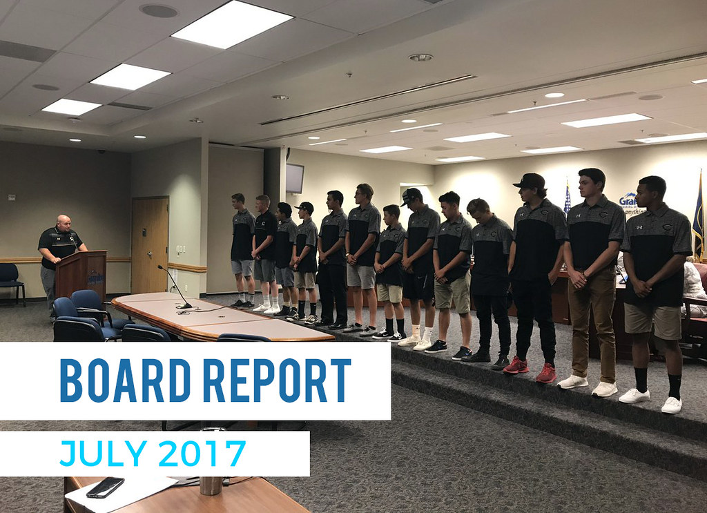 Cottonwood High baseball team racognized at board meeting with text 'Board Report July 2017'