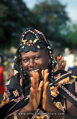 Woman wearing a traditional dress at the Roots festival, Banjul, the Gambia