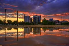 Baltimore: Harbor East puddle reflection sunrise