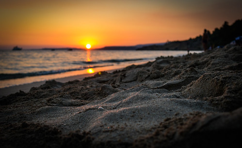 summer sand beach sun sunset greece kefalonia island colorful sea view low travelling trip