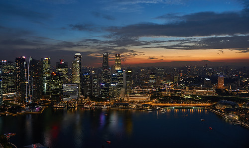 singapore sunset skyline skyscrappers sony asia bay