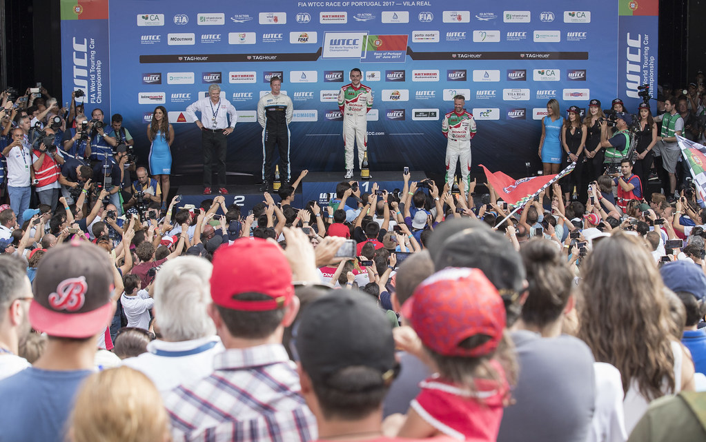 MICHELISZ Norbert (hun) Honda Civic team Castrol Honda WTC ambiance portrait BJORK Thed (swe) Volvo S60 Polestar team Polestar Cyan Racing ambiance portrait MONTEIRO Tiago (prt) Honda Civic team Castrol Honda WTC ambiance portraitPODIUM 2 during the 2017 FIA WTCC World Touring Car Championship race of Portugal, Vila Real from june 23 to 25 - Photo Gregory Lenormand / DPPI