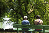 Couple sitting on bench at edge of Stow Lake in San Francisco's Golden Gate Park 170621-120515 C4 by Wambeke & Wambeke Photography, Art, & Textiles