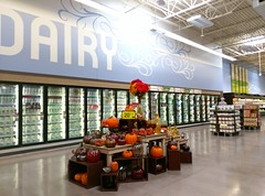 Dairy, with seasonal fall display in the foreground