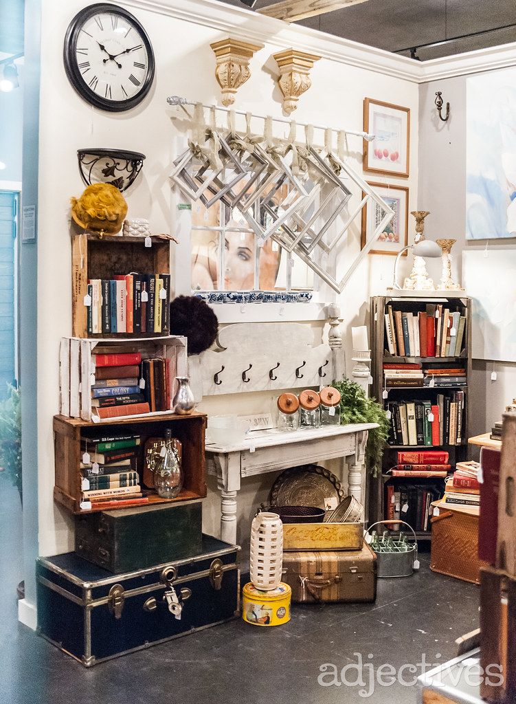 Vintage trunks, crates and picture frames in Winter Garden by Kelly Ann Decors