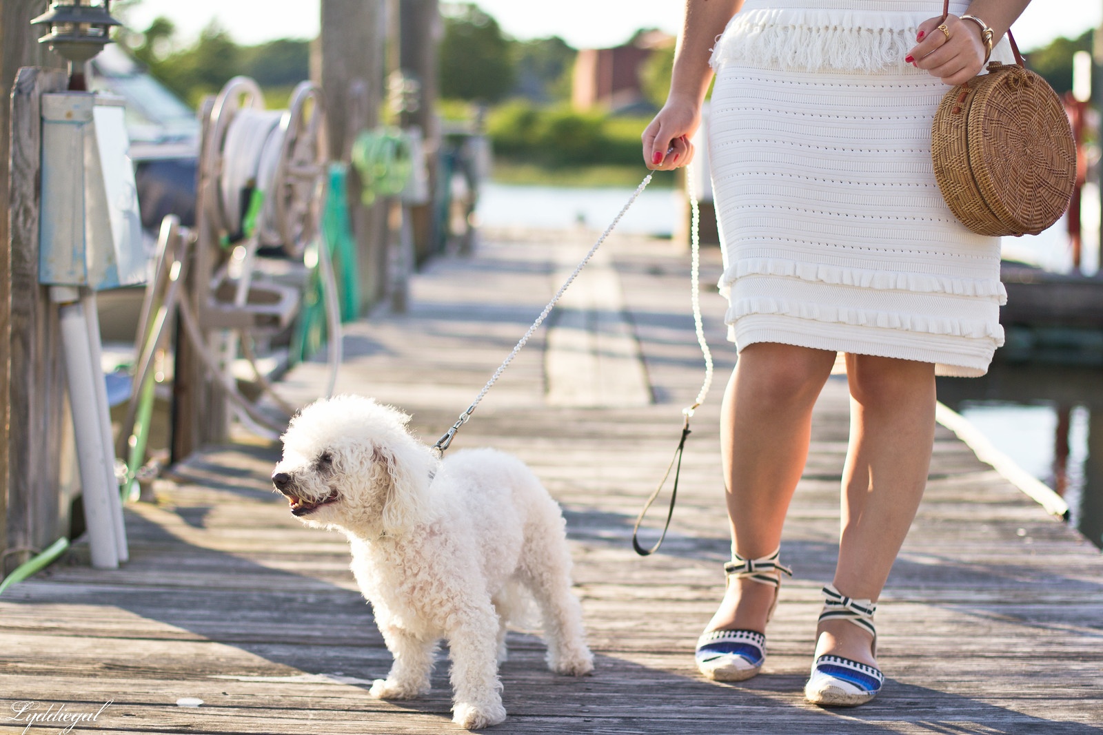 white knit dress, blue striped soludos, dog walking outfit-3.jpg