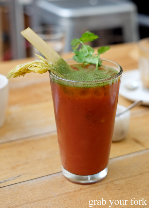 Bloody mary at Tricycle Cafe in Salamanca Place in Hobart