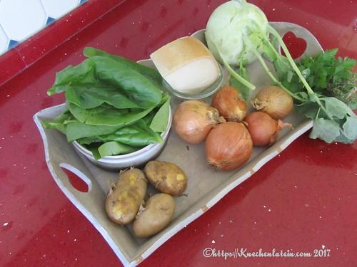 Kohlrabi and spinach gratin ingredients