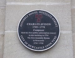 Photo of Assembly House and Charles Avison black plaque