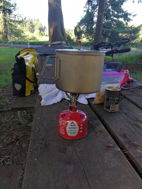 Sun, 06/04/2017 - 17:41 - Prepping for dinner. Center stage is the new micro stove Pocket Rocket from MSR.