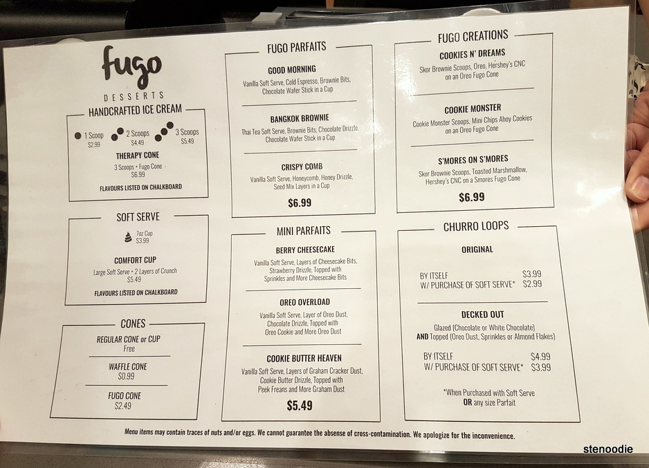 Fugo Desserts menu and prices