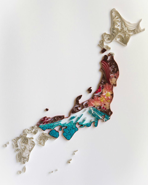 Quilled Japan Map by Akiko Makihara
