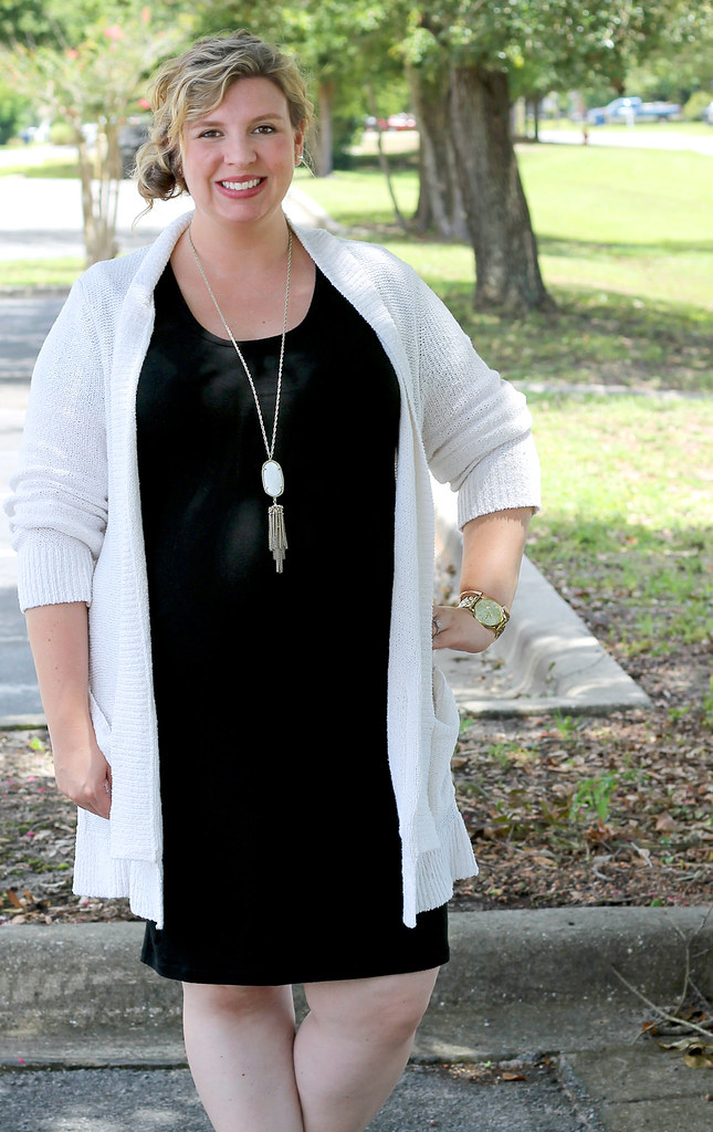 black maternity dress, cream open weave cardigan 3