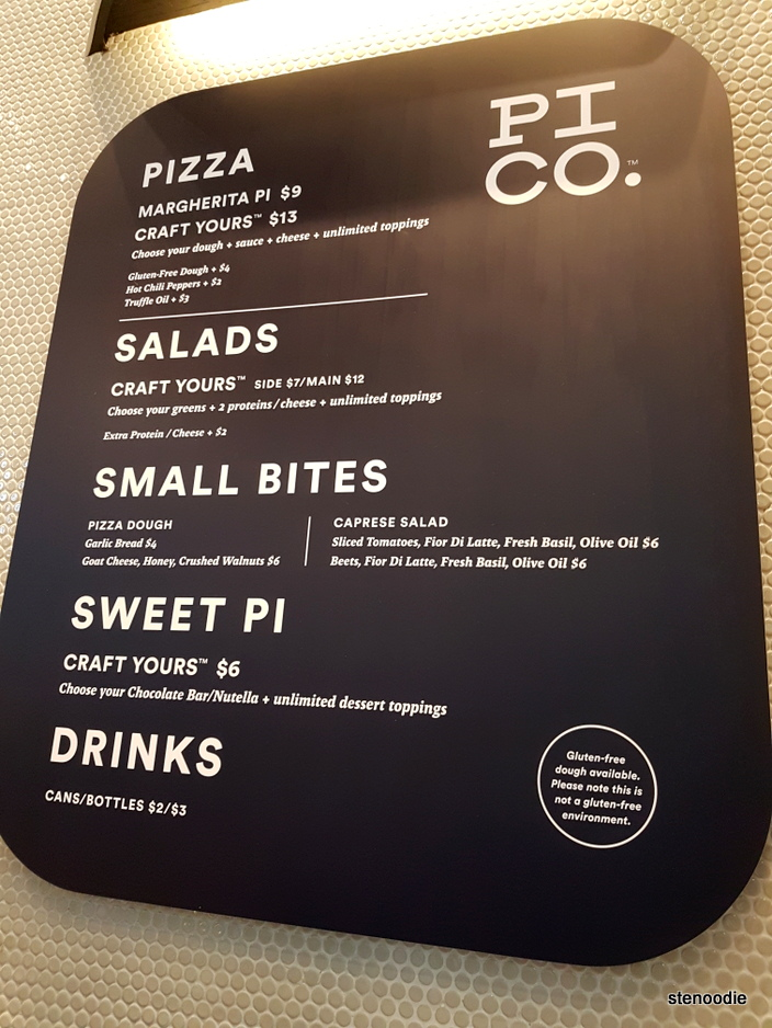 Pi Co. menu and prices