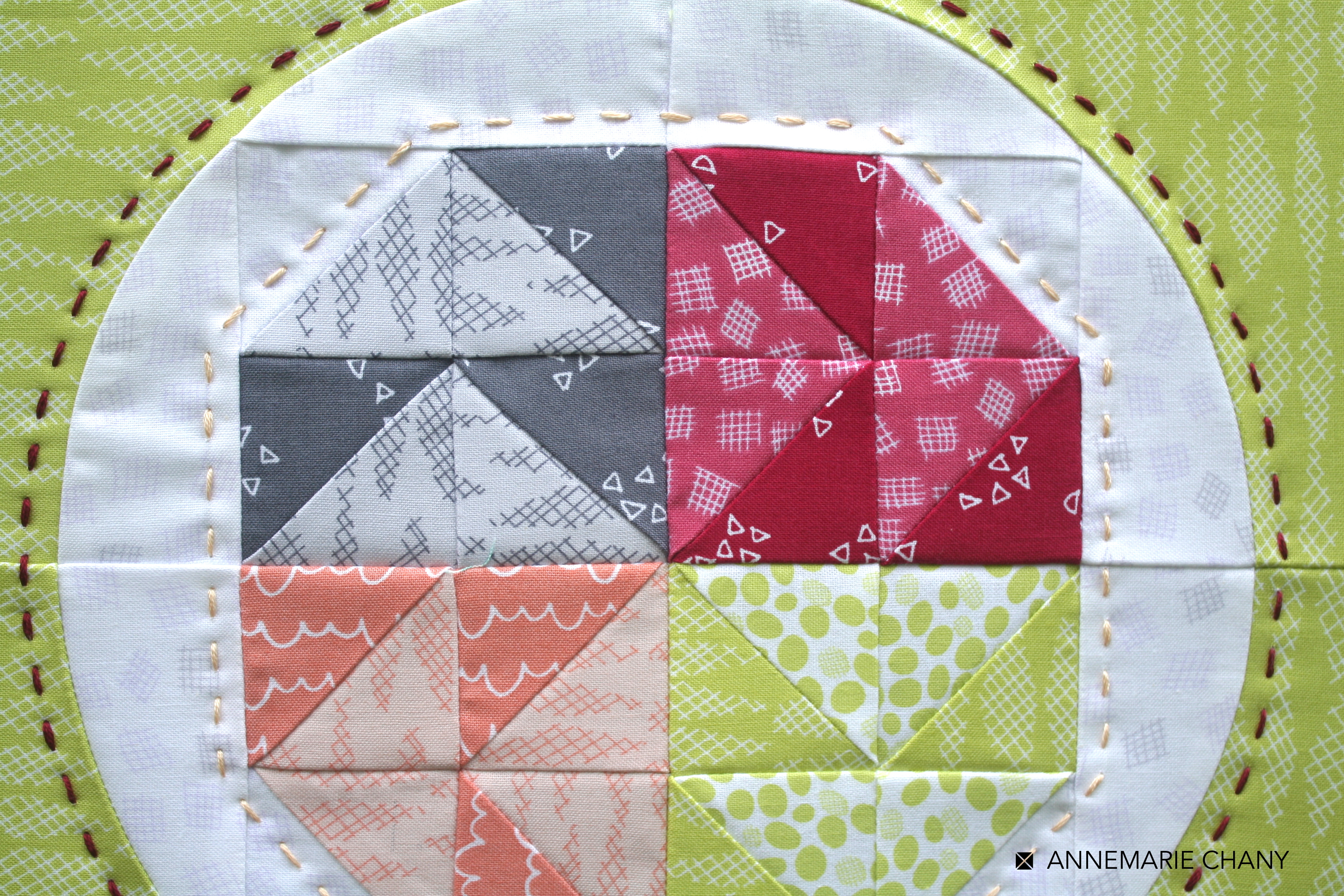 Improv Hoop Quilt piecing detail by AnneMarie Chany