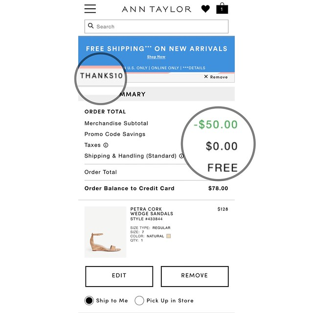 Ann Taylor THANKS10 for $50 off $100+