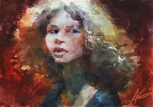 Alexandra Gritz fashion illustration watercolor sketch Olga