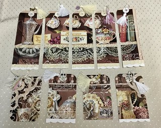 It was a beautiful calendar. The top five are now bookmarks and bottom four are tags. Had fun upcycling the calendar page and making tassels. #tags #arttags #bookmarks #lace #teatime #vintagestyle #upcycled #sandrafoster #sandrafosterphotography