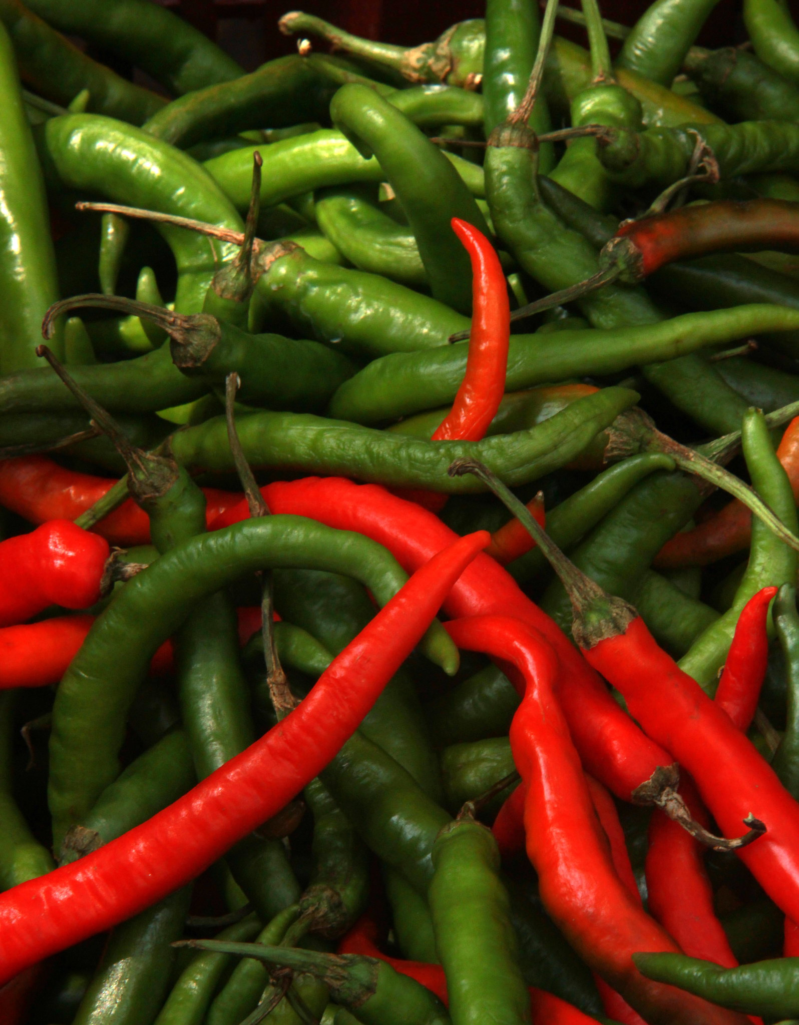 Chilies are generously used in food in Kuala Lumpur.